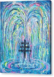 Pms 19 My Will Be Done Fountain And Triple Cross Acrylic Print