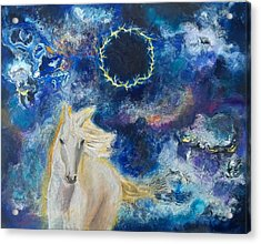 Prophetic Message Sketch Painting 6 Ring Of Lightning White Horse Acrylic Print