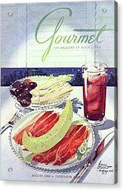 Prosciutto, Melon, Olives, Celery And A Glass Acrylic Print by Henry Stahlhut