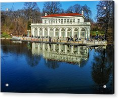 Prospect Park Boathouse Acrylic Print by Jon Woodhams