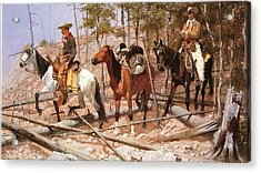 Prospecting For Cattle Range Acrylic Print by Frederic Remington