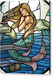 Protection Island Mermaid Acrylic Print by Gilroy Stained Glass