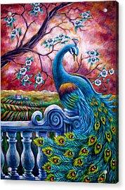 Proud Peacock Acrylic Print by Sebastian Pierre