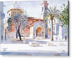 Provencal Church Acrylic Print by Lucy Willis