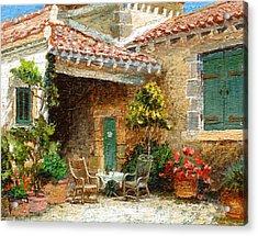 Provence Barn, 2006 Oil On Board Acrylic Print by Trevor Neal