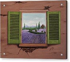 Acrylic Print featuring the painting Provence Lavander Fields Original Acrylic by Georgeta Blanaru