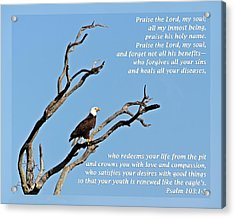 Psalm 103 1-5 Acrylic Print by Dawn Currie