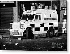 Psni Armoured Land Rover On Crumlin Road At Ardoyne Shops Belfast 12th July Acrylic Print