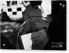 Psni Baton Round Warning On Shield During Riot On Crumlin Road At Ardoyne Shops Belfast 12th July Acrylic Print