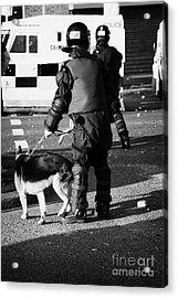 Psni Dog Handler In Riot Gear With Dog On Crumlin Road At Ardoyne Shops Belfast 12th July Acrylic Print