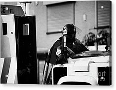 Psni Officer In Protective Riot Gear At Landrovers On Crumlin Road At Ardoyne Shops Belfast 12th Jul Acrylic Print by Joe Fox
