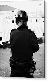 Psni Officer In Riot Gear On Crumlin Road At Ardoyne Shops Belfast 12th July Acrylic Print