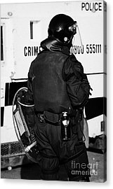 Psni Officer With Riot Gear On Crumlin Road At Ardoyne Shops Belfast 12th July Acrylic Print