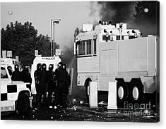 Psni Riot Officers Behind Armoured Land Rover And Water Cannon On Crumlin Road At Ardoyne Shops Belf Acrylic Print