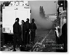 Psni Riot Officers Behind Water Canon During Rioting On Crumlin Road At Ardoyne Shops Belfast 12th J Acrylic Print
