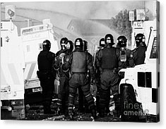Psni Riot Officers Watch Rioting And Water Canon On Crumlin Road At Ardoyne Shops Belfast 12th July Acrylic Print