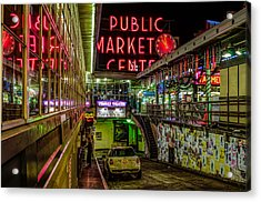 Psychadelic Midnight Colors At Pike Place Market Acrylic Print by Brian Xavier