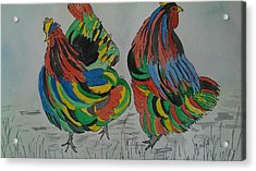 Psychedelic Chooks Acrylic Print