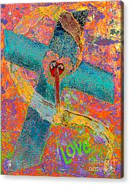 Psychedelic Cross Of Love Acrylic Print