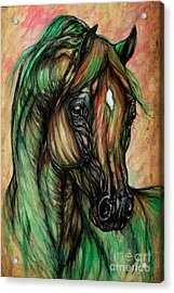 Psychedelic Green And Pink Acrylic Print by Angel  Tarantella