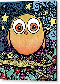 Psychedelic Owl Acrylic Print by Beth Snow