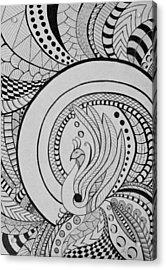 Zentangle Peacock Art, Pen Drawing, Feather Bird, Abstract Art Acrylic Print