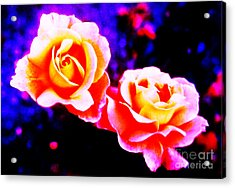 Psychedelic Roses Acrylic Print by Martin Howard