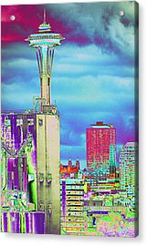 Psychedelic Seattle Acrylic Print by Richard Henne