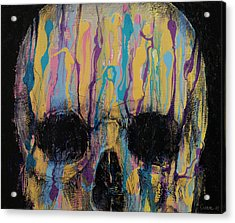 Psychedelic Skull Acrylic Print by Michael Creese