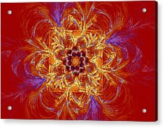 Psychedelic Spiral Vortex Red Orange And Blue Fractal Flame Acrylic Print by Keith Webber Jr