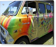 Psychedelic Van Summer Of Love Acrylic Print by Ann Powell
