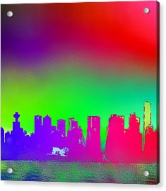 Psychedelic Vancouver Skyline Triptych Centre Acrylic Print by Patricia Keith