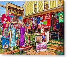 Psychedelic Woodstock Acrylic Print by Nancy  de Flon