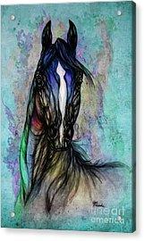 Psychodelic Blue And Green Acrylic Print by Angel  Tarantella