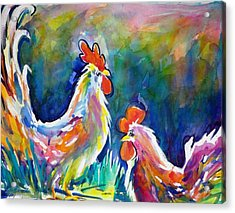 Psychodelic Cluckers Acrylic Print by Therese Fowler-Bailey