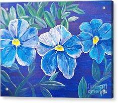 Ptg. Blue Million Bells Acrylic Print by Judy Via-Wolff