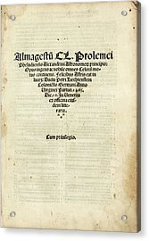 Ptolemy's Almagest Acrylic Print by Library Of Congress