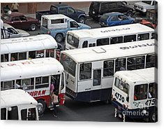 Public Buses In Traffic Jam Acrylic Print by Sami Sarkis