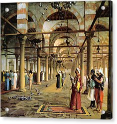 Public Prayer In The Mosque  Acrylic Print by Jean Leon Gerome