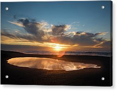 Puddle On The Beach At Sunset, Point Acrylic Print by Panoramic Images