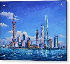 Pudong Skyline  Shanghai Acrylic Print by John Clark