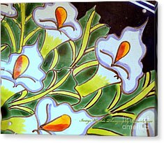 Calla Lillies Splashed Acrylic Print by ARTography by Pamela Smale Williams