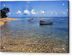 Puerto Rico Luquillo Beach Fishing Boats Acrylic Print by Thomas R Fletcher