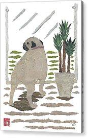 Pug Art Hand-torn Newspaper Collage Art Acrylic Print by Keiko Suzuki Bless Hue