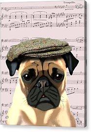 Pug In A Flat Cap Acrylic Print