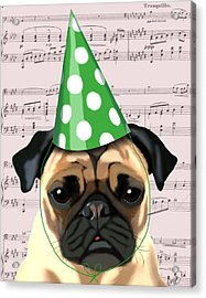 Pug In A Party Hat Acrylic Print by Kelly McLaughlan