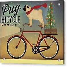 Pug On A Bike Christmas Acrylic Print