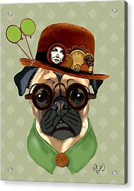 Pug Steampunk In A Bowler Hat Acrylic Print by Kelly McLaughlan