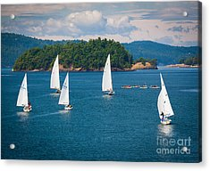 Puget Sound Sailboats Acrylic Print by Inge Johnsson