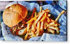 Pulled Pork Sandwich And French Fries Acrylic Print by Dan Sproul